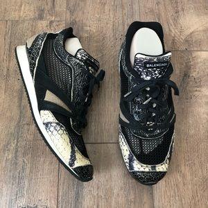 Balenciaga Mesh Python Trimmed Sneakers